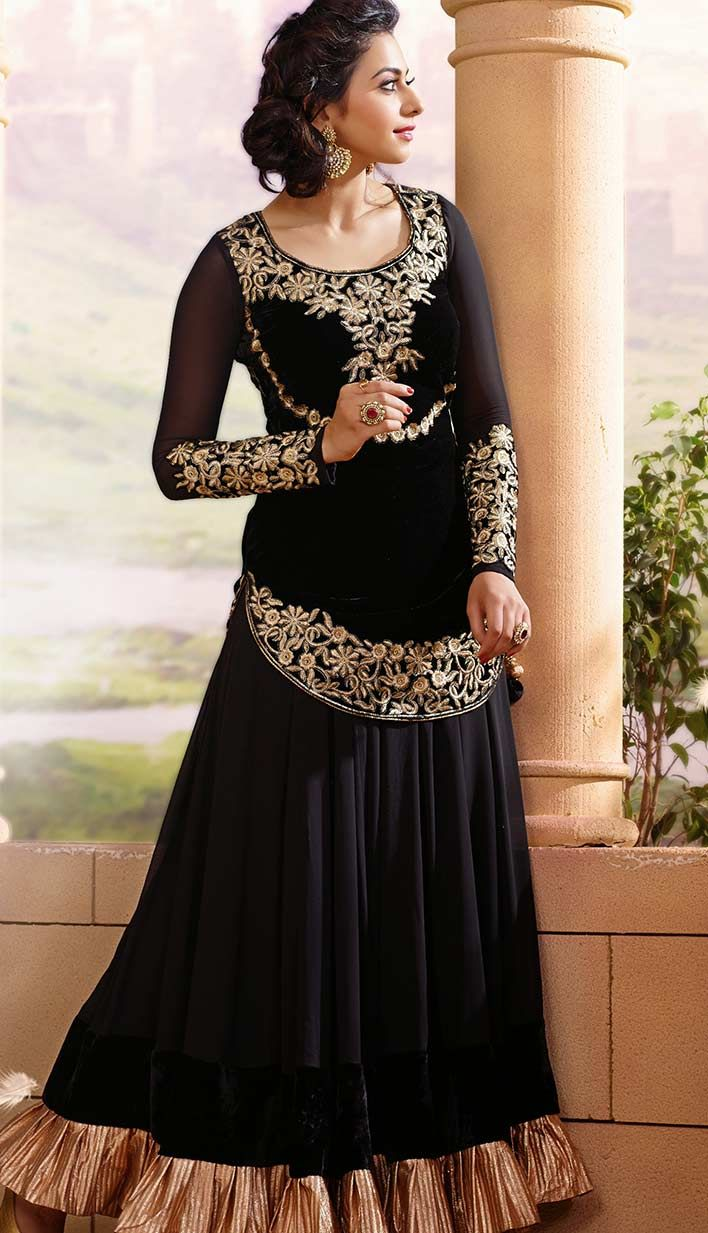 9bb19c4b5d Get Latest Beautiful Indian Black Viscose Anarkali Party Wear Dresses at  Lowest Cost with different Design