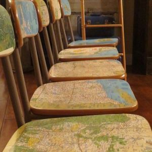 Junk Gypsy Home Decorating | Old school chairs + National geographic maps = Knock off Anthro chairs ... by cynthia
