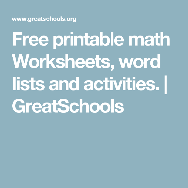 Free printable math Worksheets, word lists and activities ...