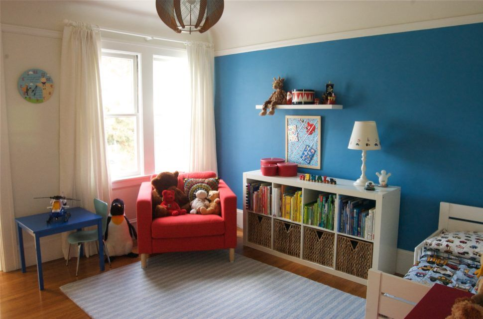 Home Design Example Images For Toddler Bedroom Ideas Decorating Blue Wall Color Plus Red Sofa In Corner Equipped Kids Bookshelves And