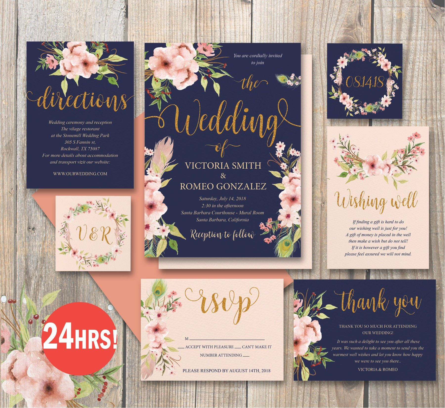 Editable Digital Wedding Set Pink Blush Navy And Gold Etsy Wedding Invitations Digital Weddings Peach Wedding