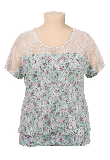 Short Sleeve Floral Print Lace Top available at #Maurices