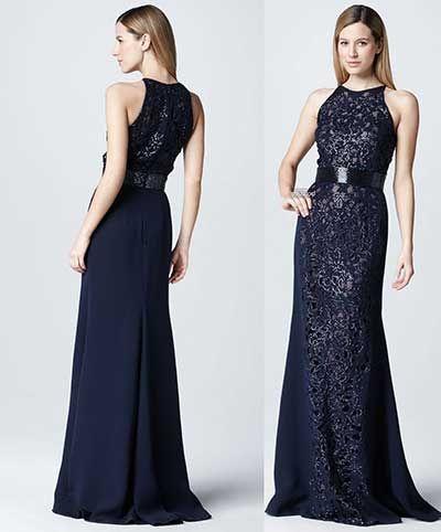 Vestidos de renda azul escuro