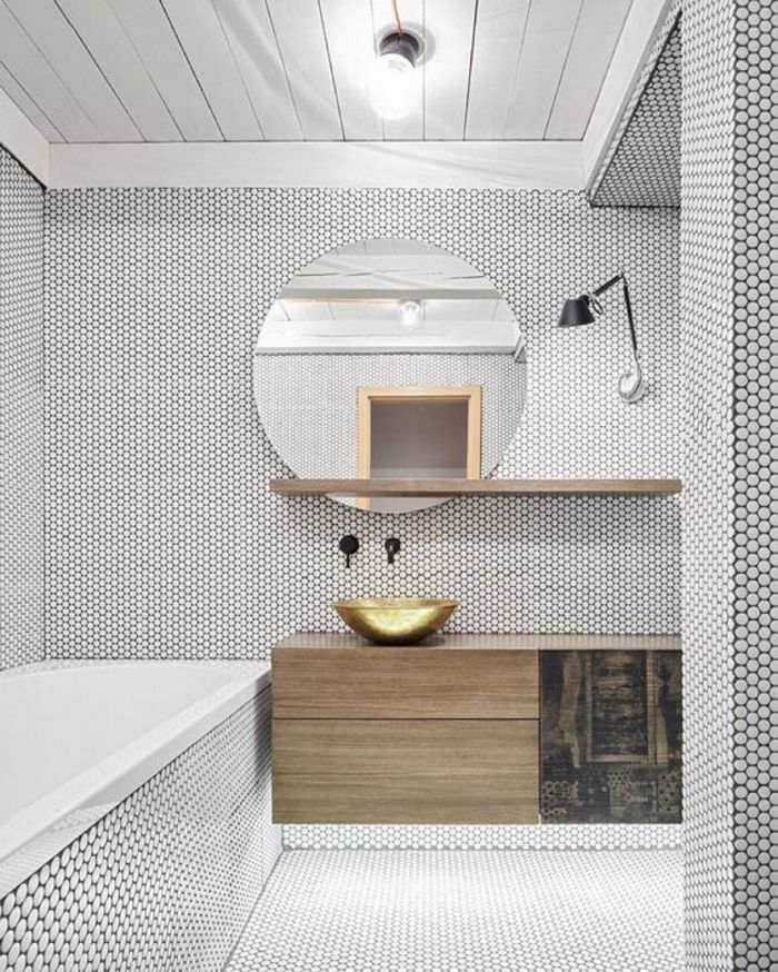 eclairage salle de bain design pas cher salle de bain en mosaque blanc noir