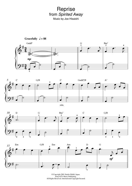 Joe Hisaishi Reprise From Spirited Away Digital Sheet Music By Joe Hisaishi Sheet Music Digital Sheet Music Joe Hisaishi