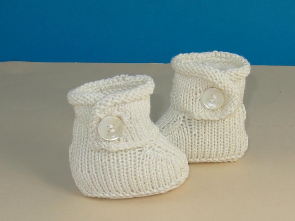 Baby Simple Trim One Button Booties Babies Knitting Patterns And