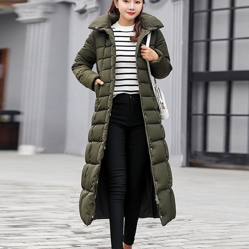1401bc4dd13 Women Hooded Coat Fur Collar Thicken Warm Long Jacket Female 2018 Winter  Plus Size 3XL Outerwear Parka Ladies Chaqueta Feminino