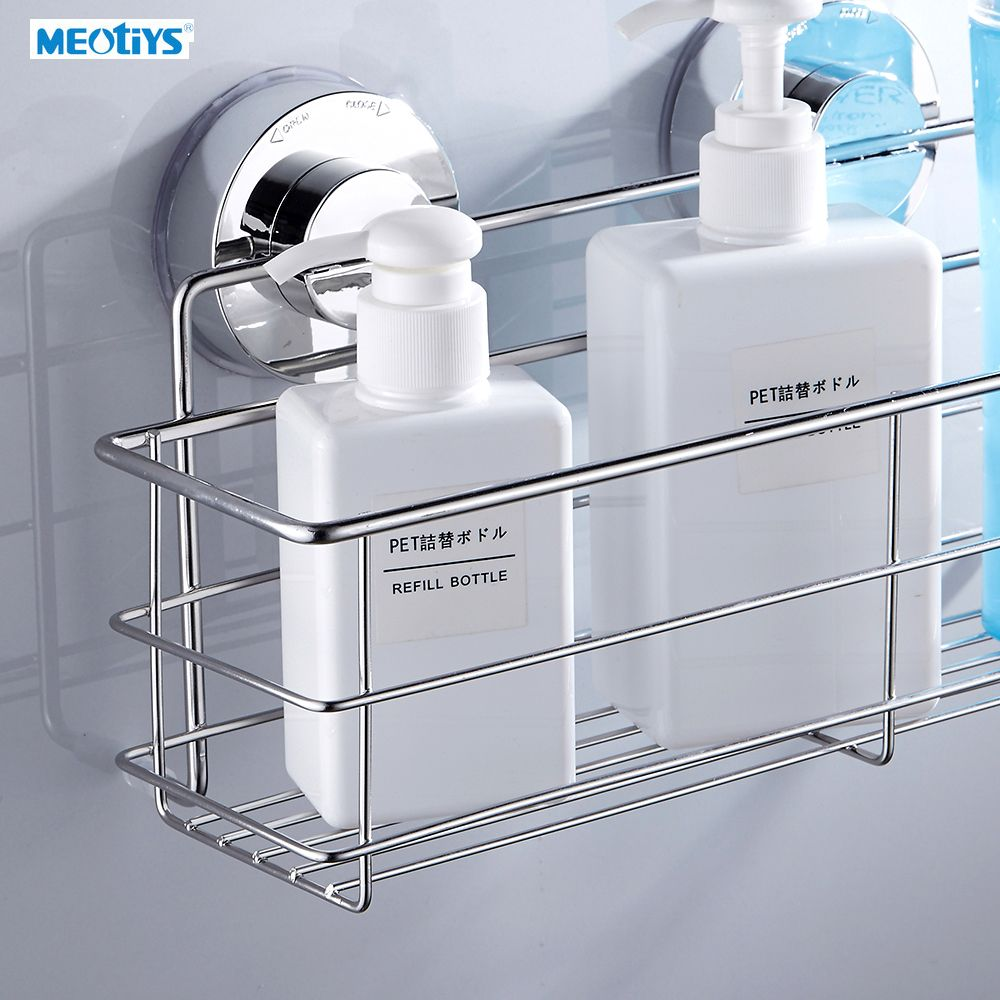 MEOTIYS Stainless Steel Strong Suction Bathroom Shelf Wall Dual ...