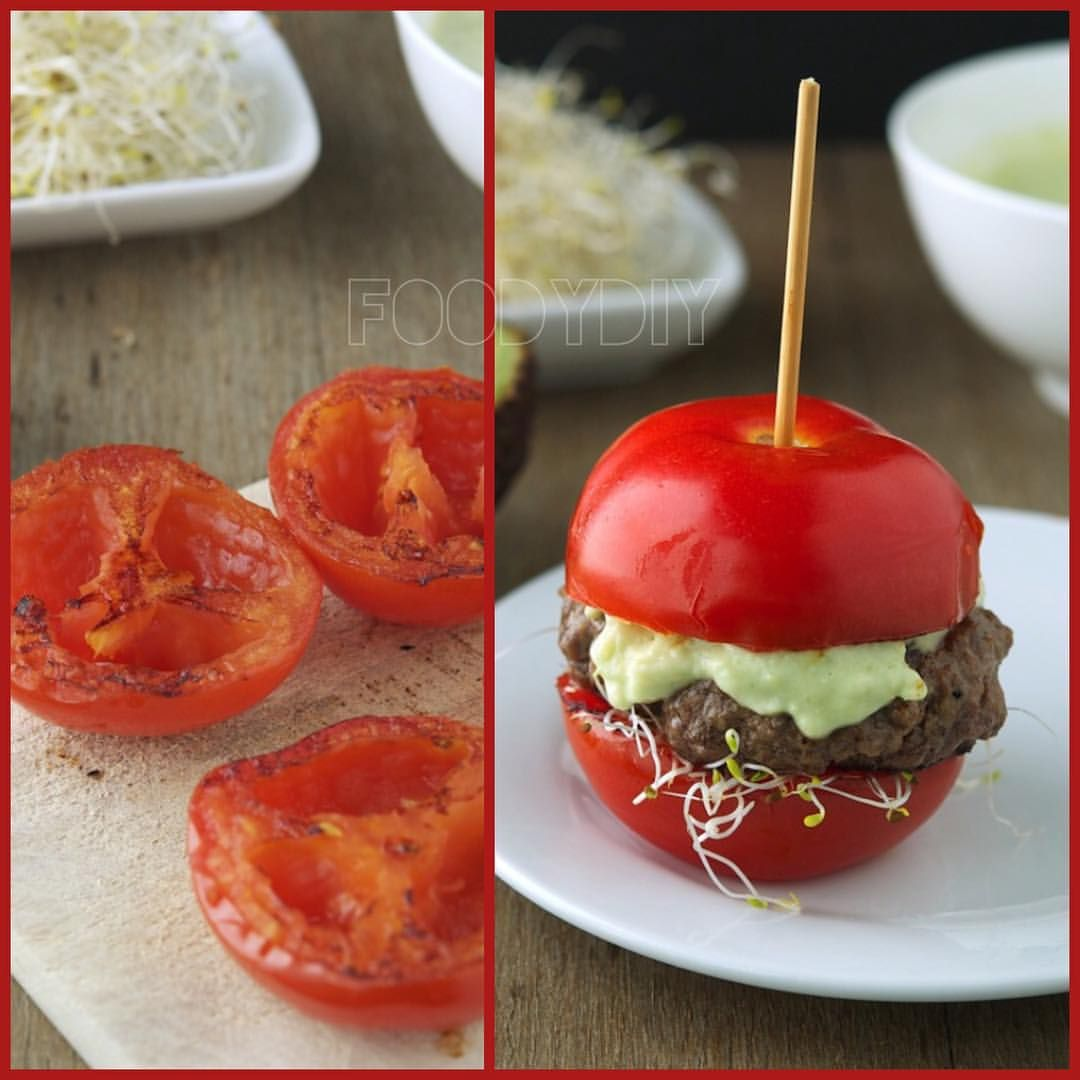 Tomato Avocado Burger for #NationalBurgerDay - low carb, gluten-free and absolutely delicious!!  Source: @MikeTheIronYou TAG someone who would love this!