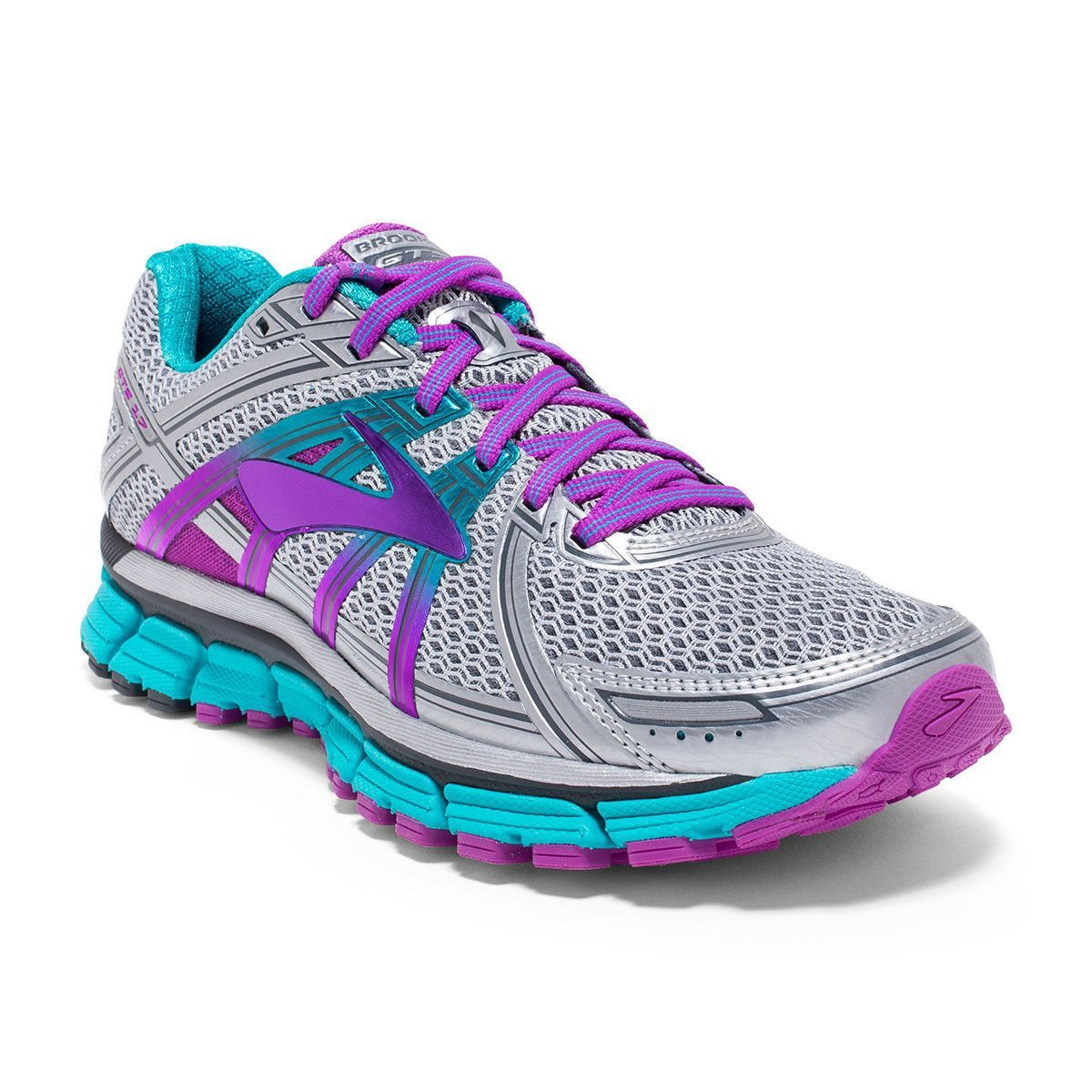 791b9b19dc325 Brooks Women s Adrenaline GTS 17 Wide Silver Purple Cactus Flower Bluebird Running  Shoe 8 Wide Women US  Stay on top of your stride with the perfect balance  ...