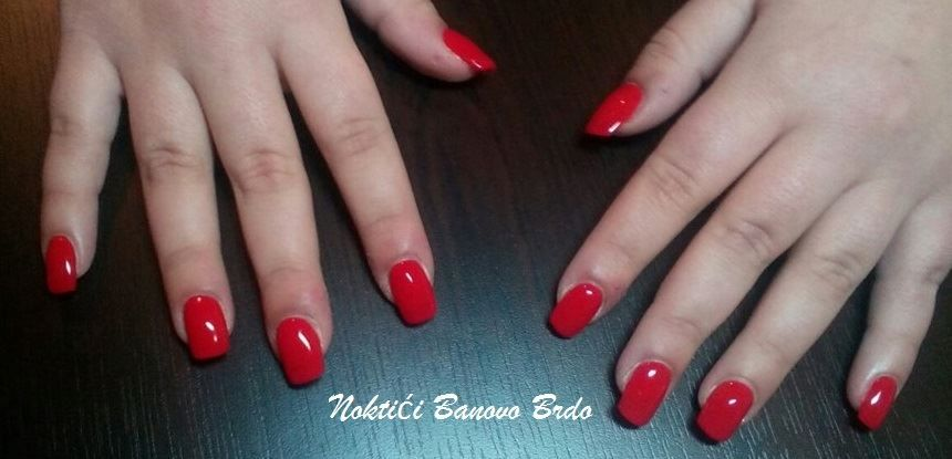 Gel Nails Extension Red Color