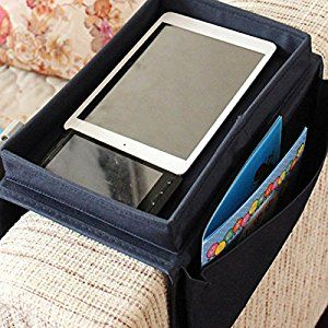 SZTARA Sofa TV Remote Control Handset Holder Organiser Caddy For Arm Rests  With Cup Holder Tray