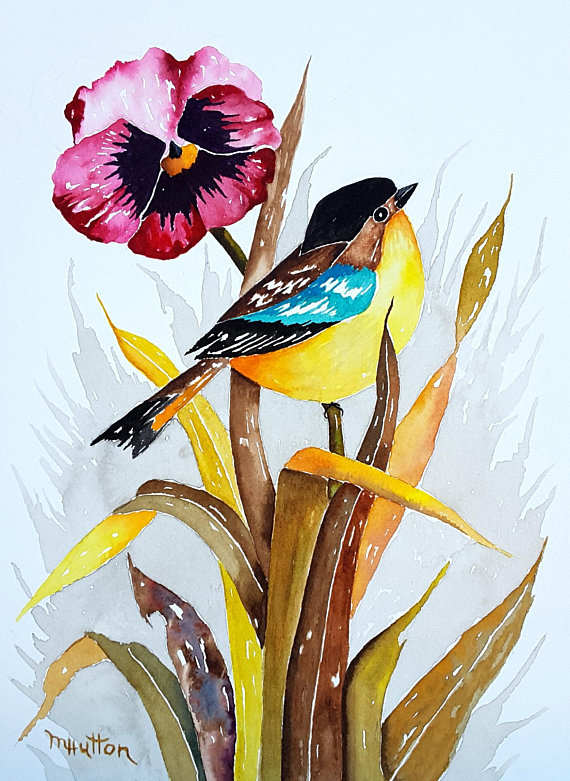 Bird Art Painting Watercolor Original Colorful Bird And Pansy