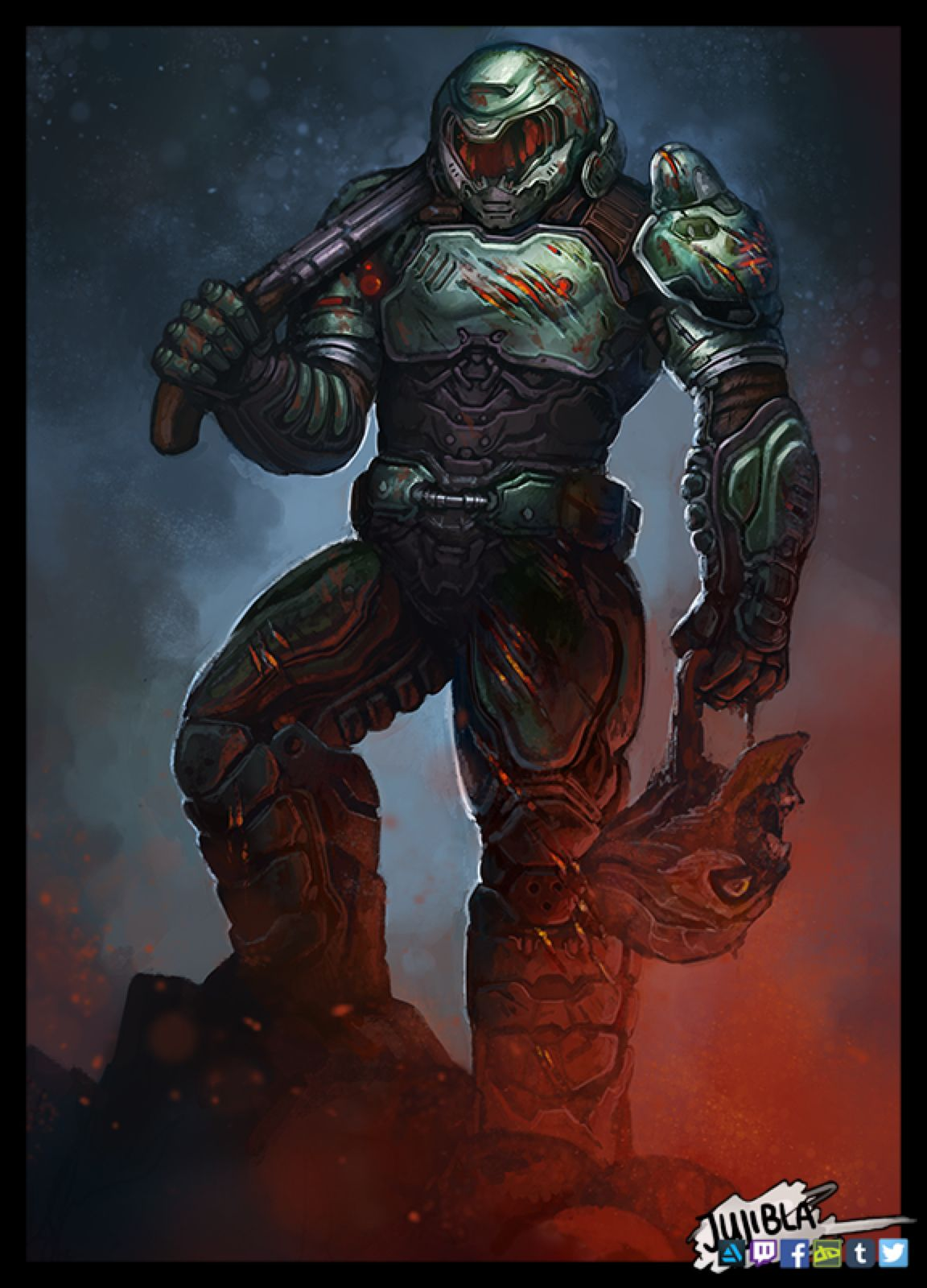 Doom Guy Fanart By Jujibla On Deviantart Doom Doom Videogame