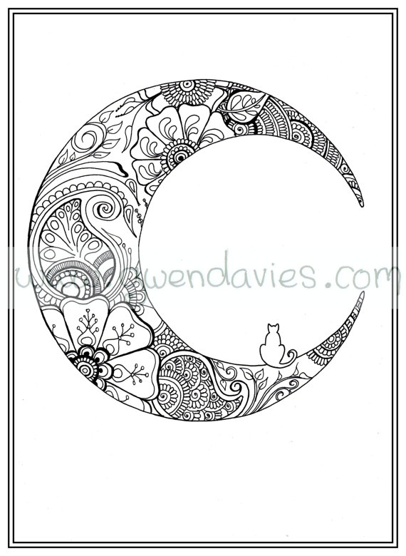 adult colouring in pdf download moon cat calming by. Black Bedroom Furniture Sets. Home Design Ideas