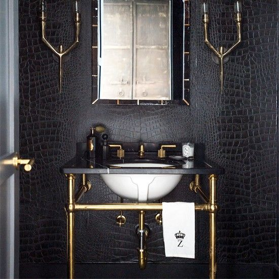 Black and white bathroom designs Powder room wallpaper