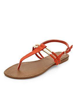 good service best loved buy sale Orange Metal Trim T-Bar Strap Sandals | New Look £8 | New look ...