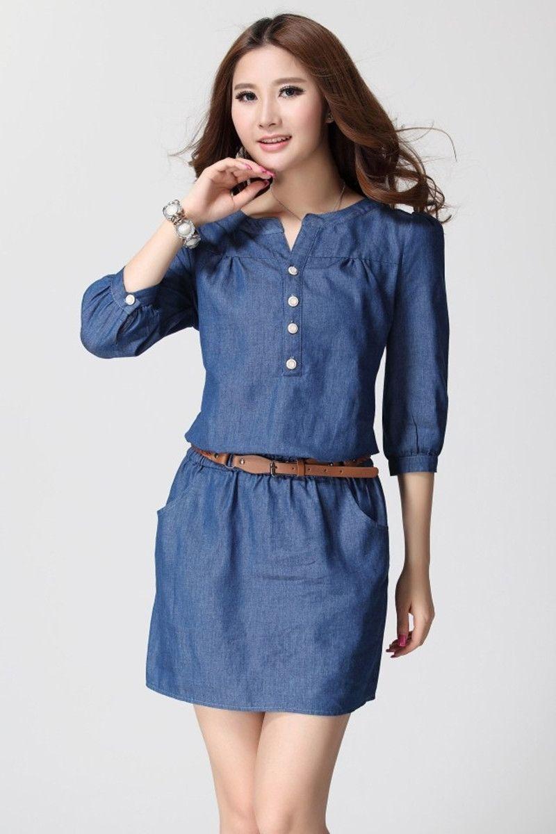 4394d18f7 Encontrar Más Vestidos Información acerca de 2015 mujeres del verano de  tres del cuarto más tamaño vestido de mezclilla azul