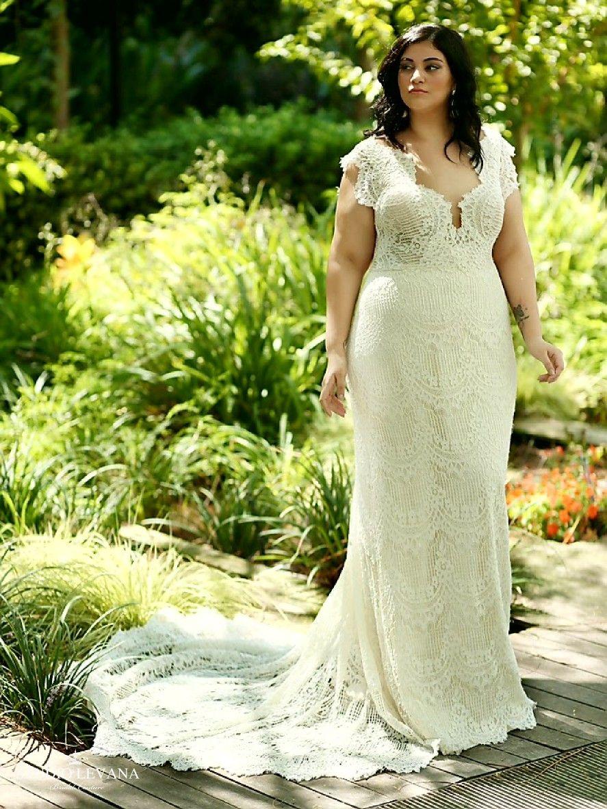 Beautiful Romantic Boho Chic Mermaid Lace Wedding Dress With Long Train Esme Studio Levan Wedding Dresses Trendy Wedding Dresses Nontraditional Wedding Dress [ 1182 x 887 Pixel ]