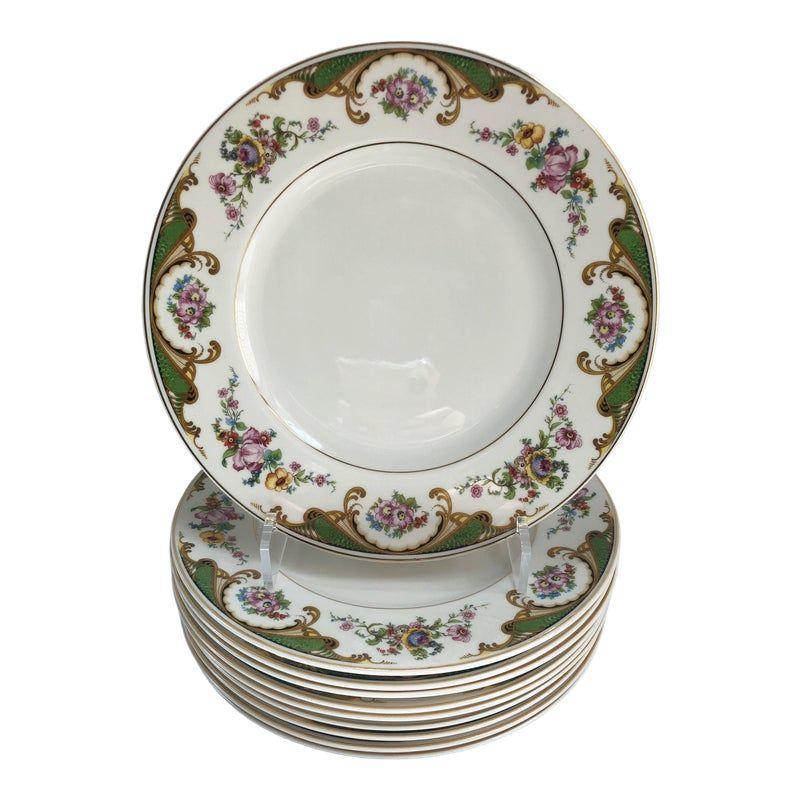 Vintage Pink Floral Decorated Porcelain Dinner Plates