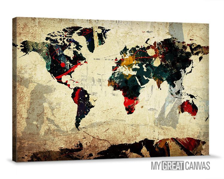 Colorful ink splashed modern world map wall art map canvas large colorful ink splashed modern world map wall art map canvas large map canvas painting gumiabroncs Choice Image