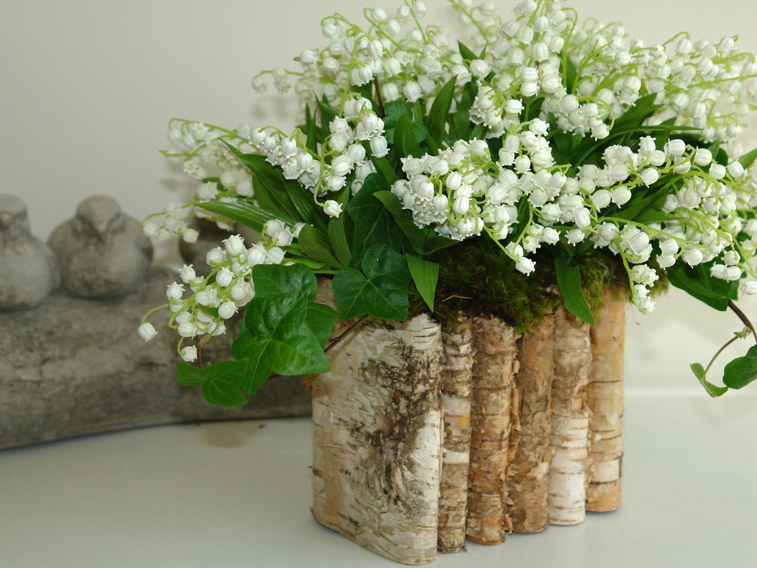 Mother s day centerpiece bouquet birch bark wood vases
