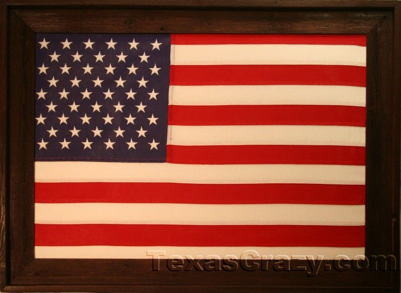 american flag framed dark stained