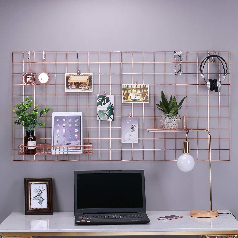 Rumcent Multifunction Metal Mesh Grid Panel Wall Decor Photo Wall Wall Art Display Organizer Pack Of 2 Pcs Size 23 6 X 23 6 Decoraciones De Casa Escritorio