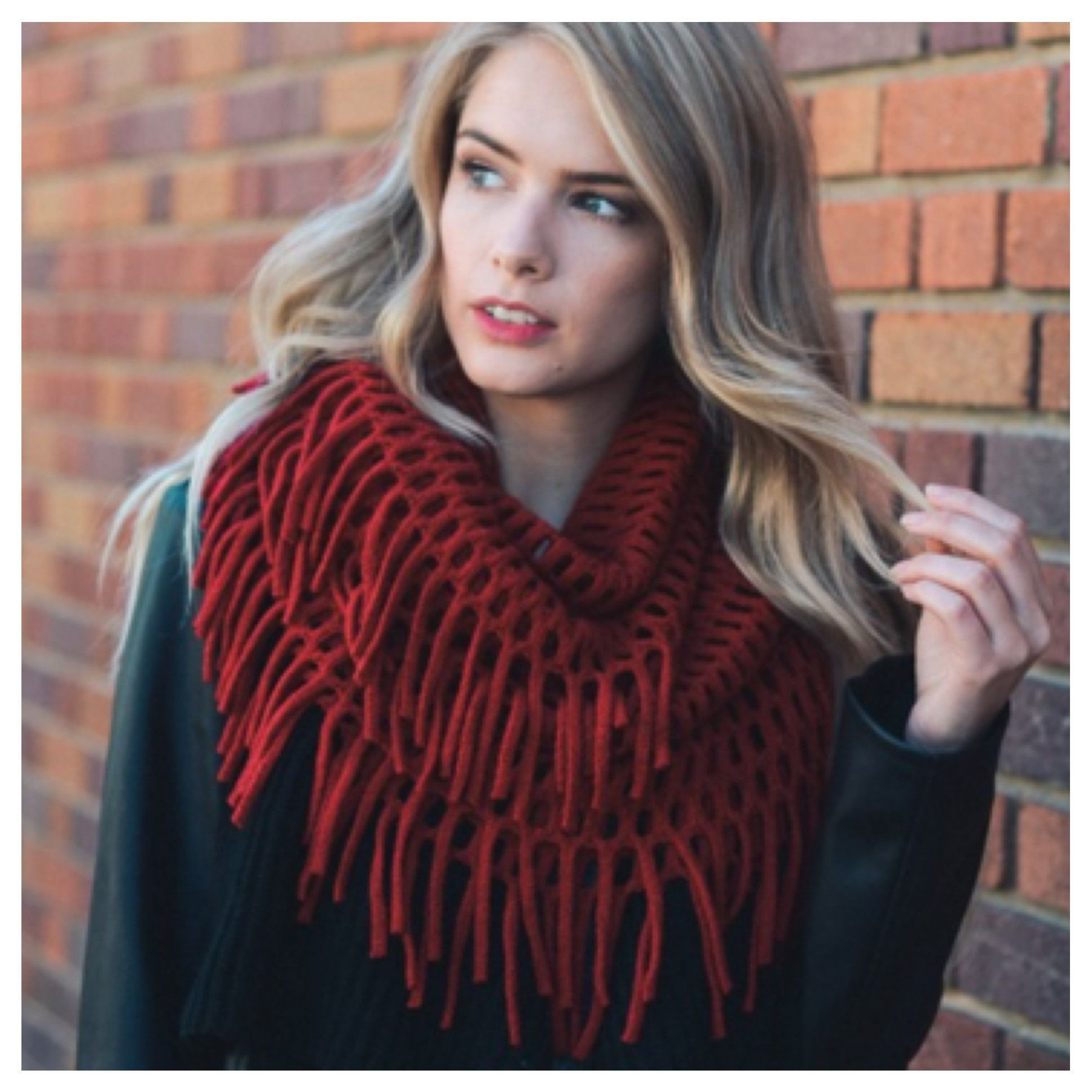 """Always My Style"" Chenille Tassel Fringe Deep Red Infinity Scarf"