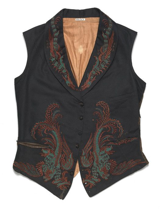 Man's waistcoat Unknown artist, Chinese export Man's waistcoat, ca. 1840 Plain weave fulled wool (broadcloth) with silk embroidery 68.120