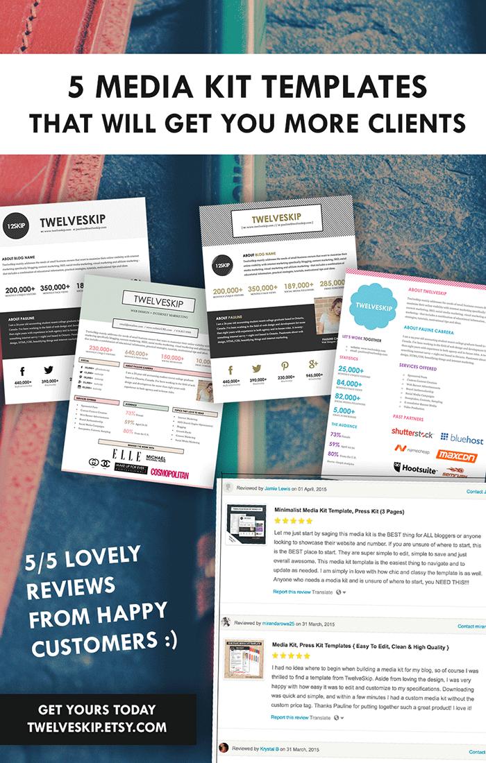 Punchy EasyToEdit Media Kit Templates For Bloggers  Media Kit