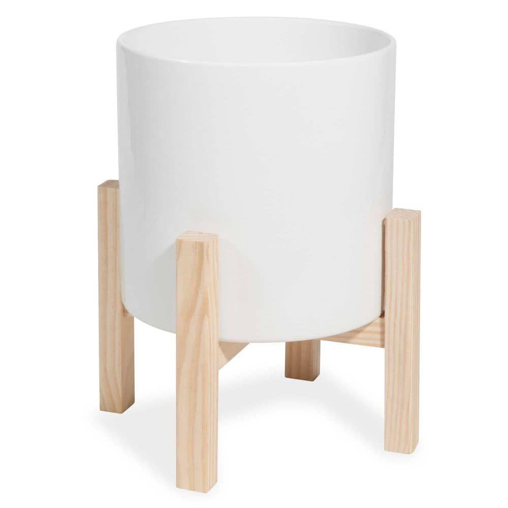 cache pot sur pied en c ramique blanche wishlist. Black Bedroom Furniture Sets. Home Design Ideas