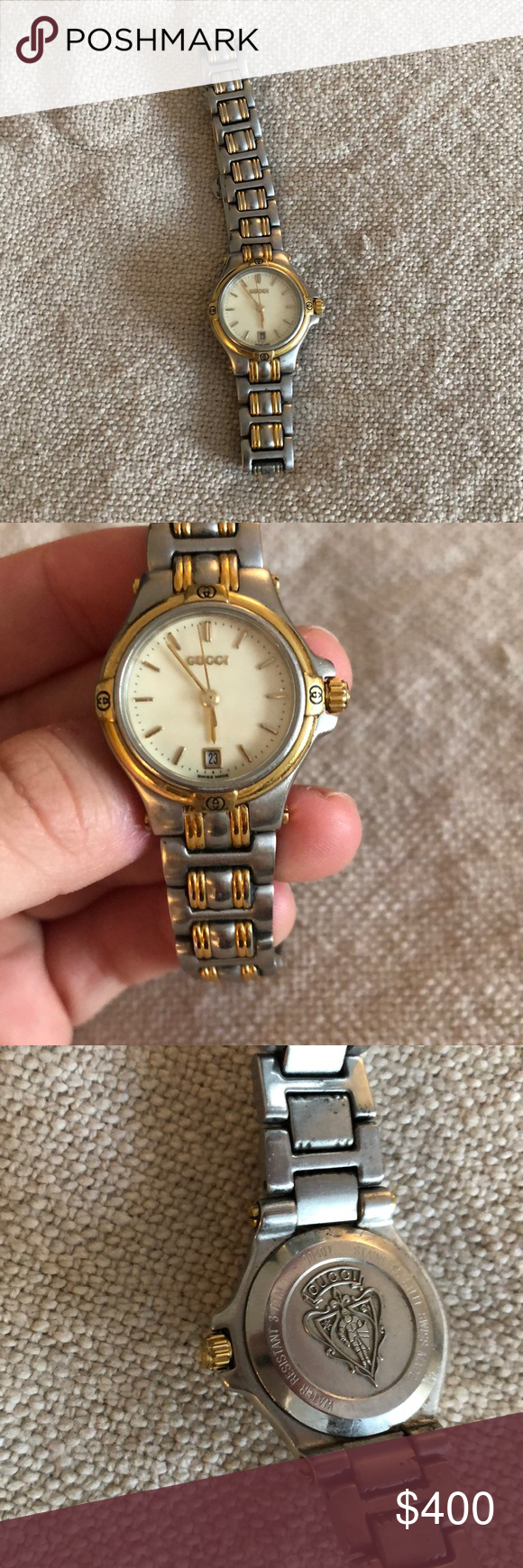 d1d426a5bc7 9000L Swiss 2 tone stainless steel 25mm gold dial analog. Comes with box    extra links! Needs new battery. Gucci Accessories Watches