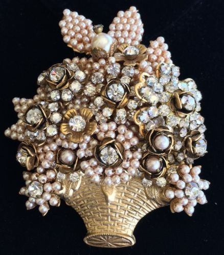 Magnificent Vintage Miriam Haskell Brooch/Pin~Pearls/Crystals/Goldtone~Signed