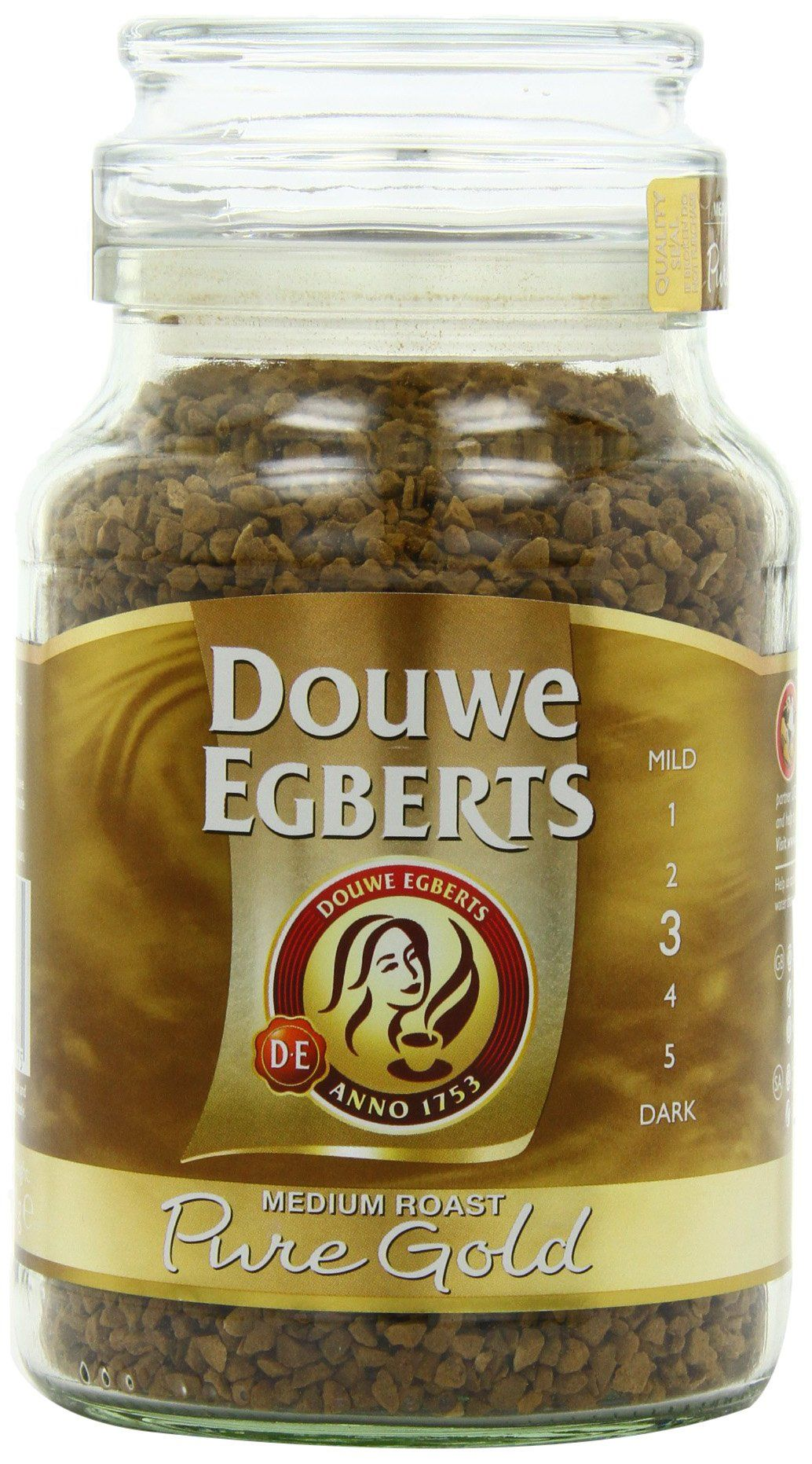 Douwe Egberts Pure Gold Instant Coffee, Medium Roast, 7.05-Ounce, 200g