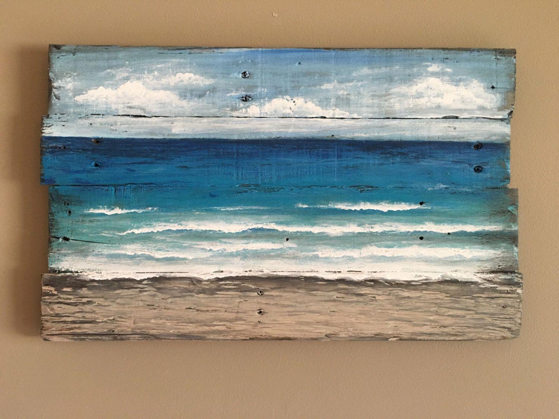 Beach Painting Pallet Beach Wall Art Hand Painted Seascape