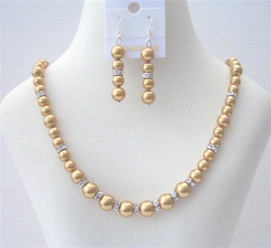 51.73$  Buy now - http://viyog.justgood.pw/vig/item.php?t=ocwggyq42440 - Golden Pearls Bridal Bridesmaid Swarovski Handcrafted Rondell Jewelry
