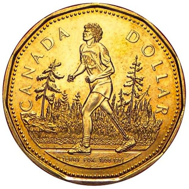 Coolest Canadian Coins Terry Fox Loonie Keep An Eye Out For This Canadian Hero Today The Mint Honours Terry Fox And His Canadian Coins Valuable Coins Coins