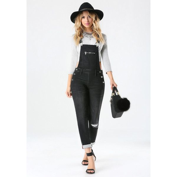 Black Denim Overalls ($129) ❤ liked on Polyvore featuring jumpsuits, overall jumpsuit, bib overalls, denim overall, black jumpsuit and black bib overalls