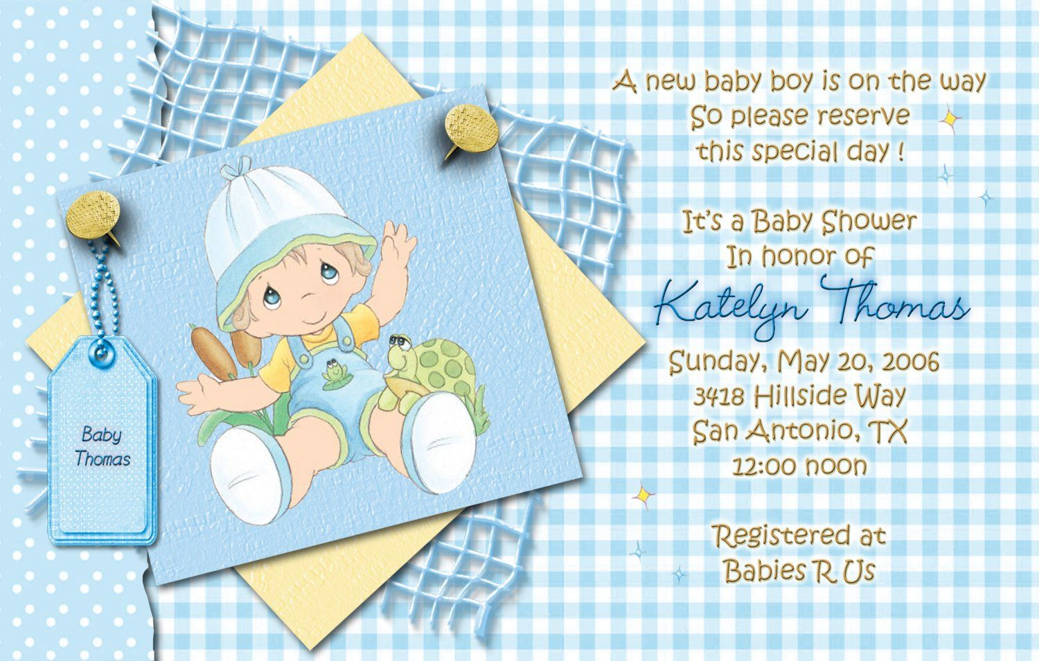 Blue Precious Moments Baby Shower Invitations   Baby Shower ...