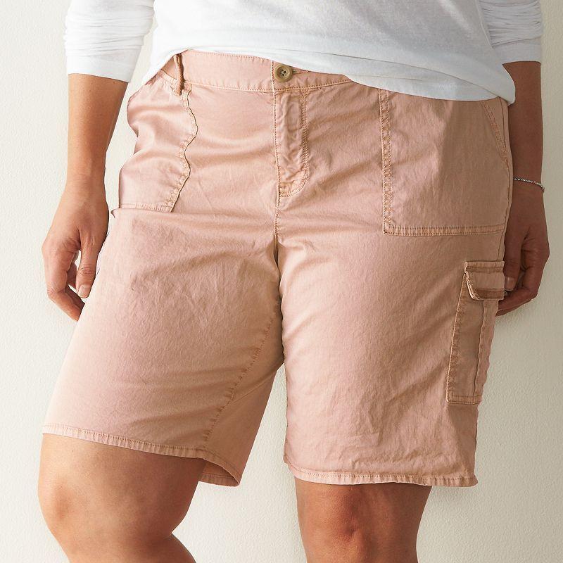 Plus Size SONOMA Goods for Life™ Cargo Bermuda Shorts, Women's, Size: 24 W, Lt Orange