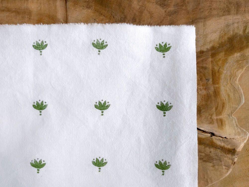 Block Print Fabric Boho Fabric Indian Lotus Flower Hand Block
