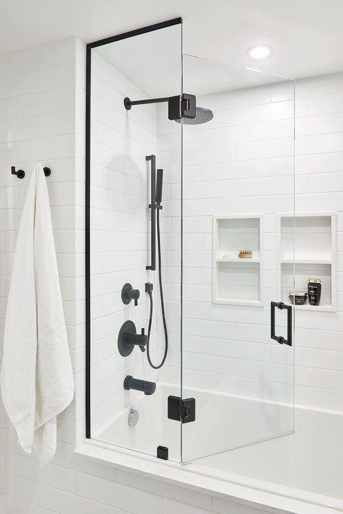 Matte White Subway Tiles in Bathroom Shower | Sneak Peek Design