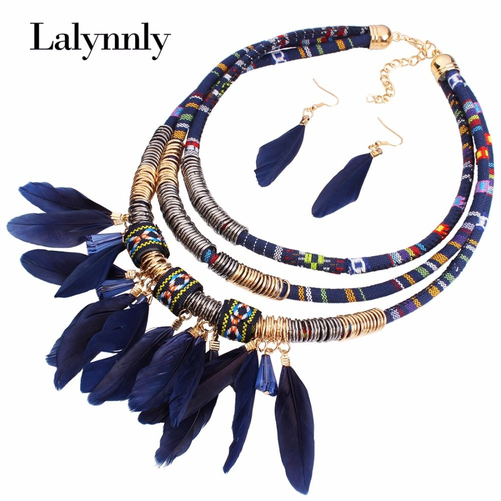 Ethnic vintage gold color jewelry sets embroidery cloth multilayer