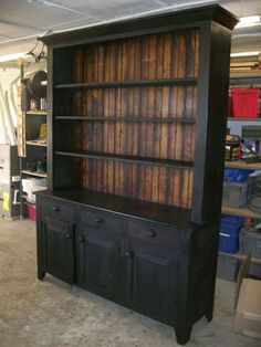 Antique Black Open Top Hutch Buffet With Wood Top Black
