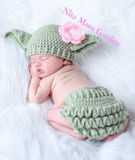 Baby Yoda Hat & Diaper Cover SET Star Wars Hat Newborn 0 3m 6m Girls ...