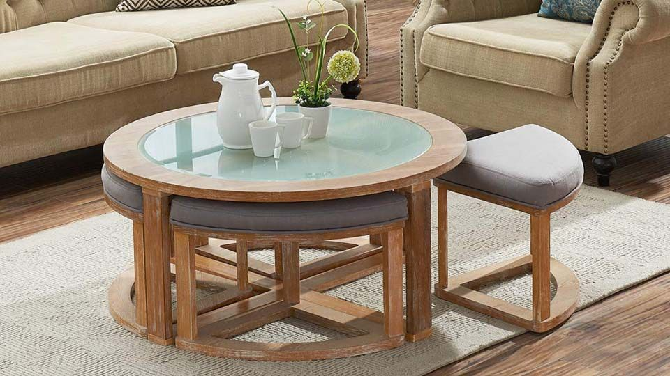 Round Coffee Table With Nesting Stools Table Decor Living Room