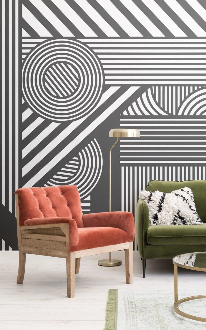 Geometric Black & White Wallpaper Striped Design