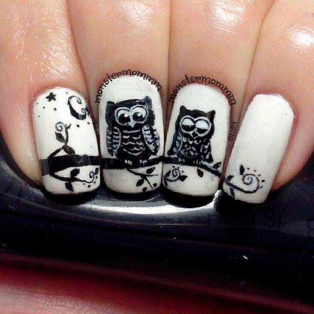 Diseño de Uñas con buhos …   uñas decoradas   Pinterest   Nail nail ...