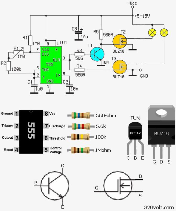 70W lámpa fényerő-szabályozó áramkör 555 MOSFET 5v 15v 2 70W MOSFET ...